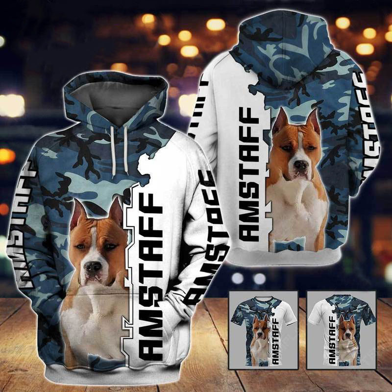 Amstaff Dog 3D All Over Printed Hoodie AM210841