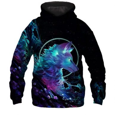 The Nice Shirts - Wolf 3D Hoodie - Alpha Wolf Art 3D All Over Hoodie 3D Hoodie