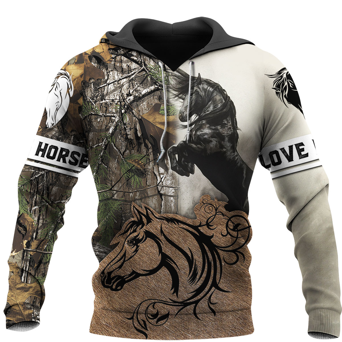 Beautiful Horse Brown Camo 3D All Over Printed Shirts