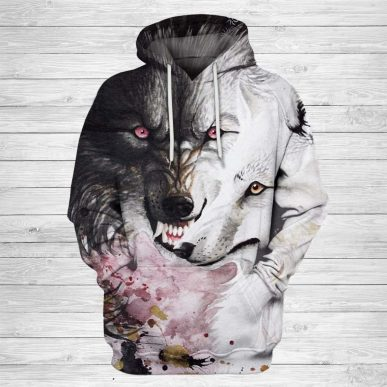 The Nice Shirts - Wolf 3D Hoodie - Angry Wolf Art 3D All Over Hoodie 3D Hoodie