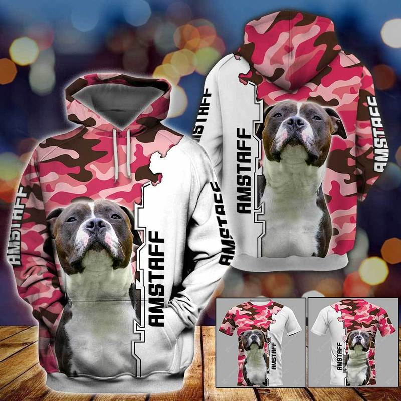 Amstaff Dog 3D All Over Printed Hoodie AM240847