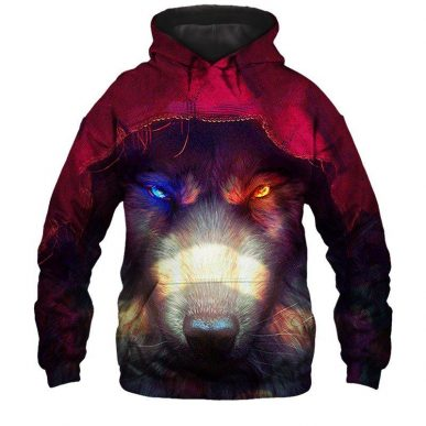 The Nice Shirts - Wolf 3D Hoodie - Skoll and Hati Wolf 3D All Over Hoodie 3D Hoodie
