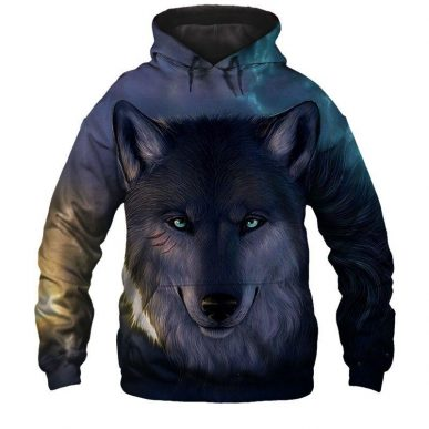 The Nice Shirts - Wolf 3D Hoodie - Dishonored Wolf 3D All Over Hoodie 3D Hoodie