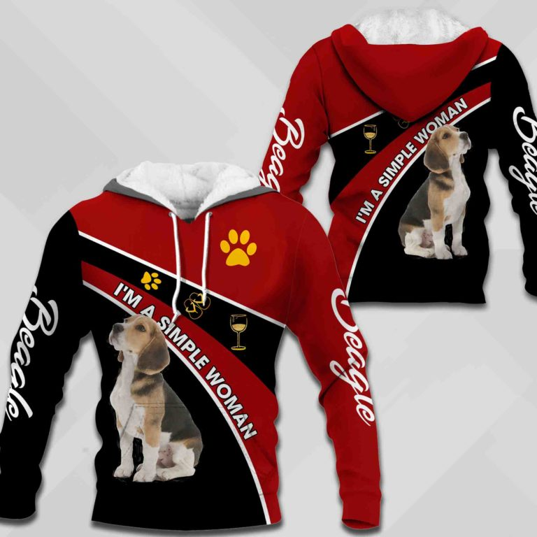 Beagle-I'm A Simple Woman 3D All Over Printed Hoodie C200712
