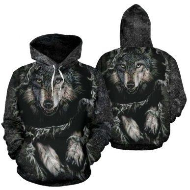 The Nice Shirts - Wolf 3D Hoodie - Breakthrough Wolf All Over Hoodie 3D Hoodie