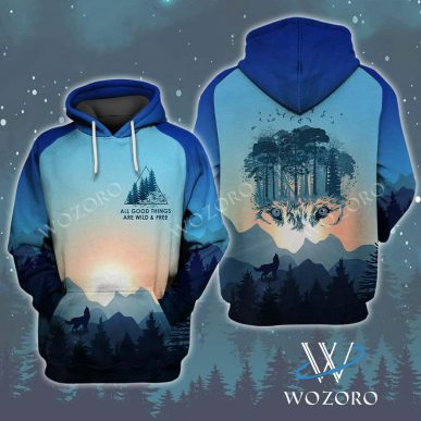 The Nice Shirts - Wolf 3D Hoodie - All Good Things Are Wild And Free Wolf Camping 3D Hoodie