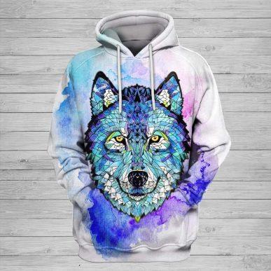 The Nice Shirts - Wolf 3D Hoodie - Fusselwolf Art 3D All Over Hoodie 3D Hoodie